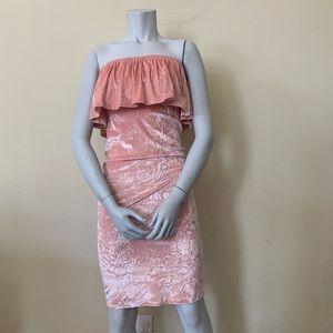 Mono B Pink Velvet Ruffle Trim Off Shoulder Dress